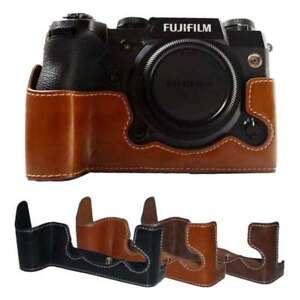 Battery Open PU Leather Camera Half Body Bottom Case For Fujifilm Fuji X-H1 XH1