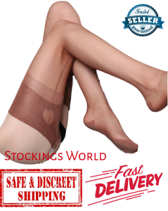 Fully-Fashioned-Stockings-NYLONS-Seamed-Cuban-Heel-KEY-HOLE-WELT-Coffee-M-L-NEW