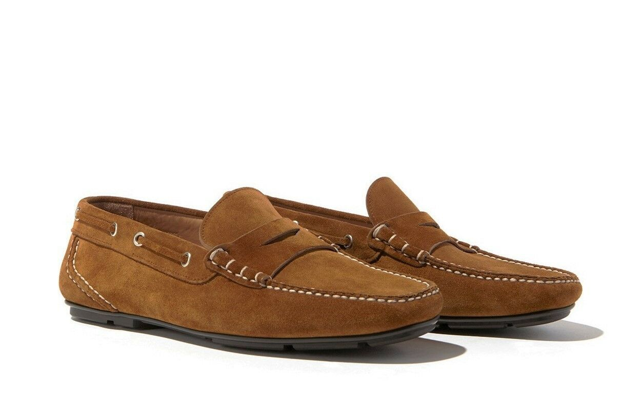 Salvatore Ferragamo Men's Ravel Suede Moccassin Driver Loafer, Brown
