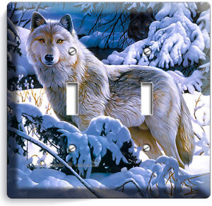 Wild Gray Wolf Winter Forest 2 Gang Light Switch Wall Plate Cover Room Art Decor Ebay