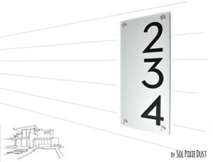 Yellow Alucobond with Black Acrylic Door Number Vertical 3- Contemporary Home Address -Sign Plaque Modern House Numbers