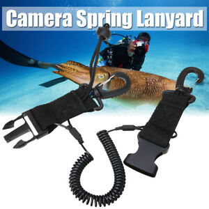 Spring-Lanyard-Coil-Camera-Scuba-Dive-Diving-With-Quick-Release-Buckle-Clips