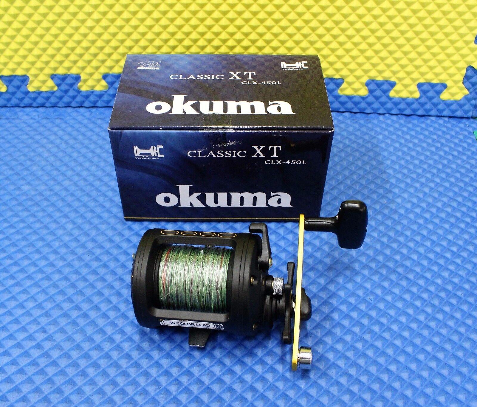 Okuma Classic XT CLX-450L Trolling Reel Pre Spooled with 10 Farbe 27  Lead Core