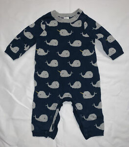 Baby-Gap-Cotton-Sweater-One-piece-Whale-Narwahl-Outfit-Size-0-3mo