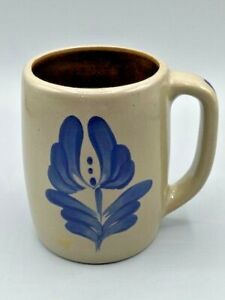 "Beaumont Brothers BBP Pottery Salt Glazed Mug Blue Flower 4 1/4"" EUC Vintage"