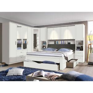 Schlafzimmer Set Lindau Kleiderschrank Bett Bettbrücke in weiß mit ...
