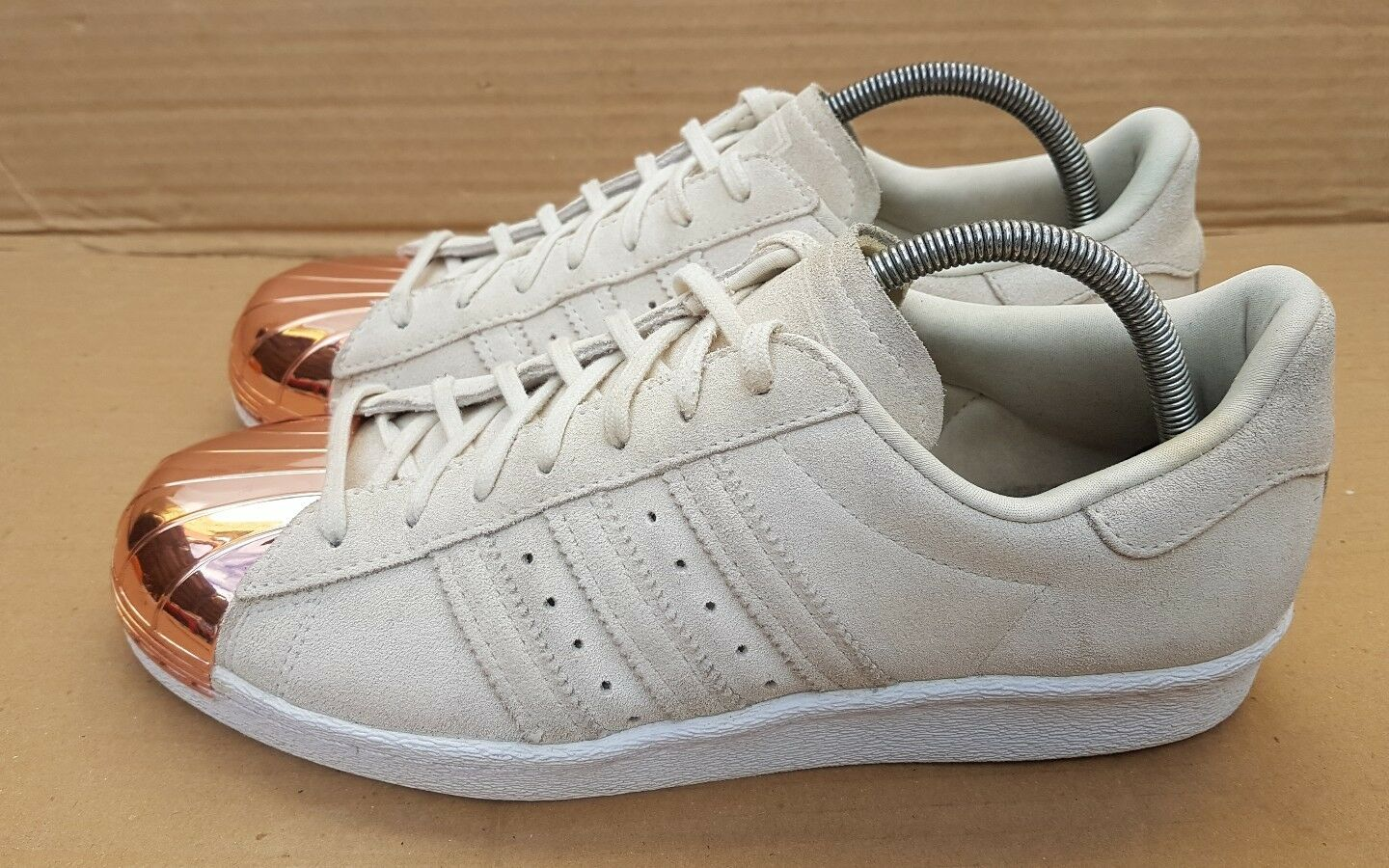 ADIDAS SUPERSTAR 80'S TRAINERS BEIGE SUEDE ROSE GOLD METAL TOE IN SIZE 7 UK