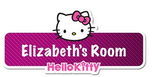 Hello kitty personnalisé nom plaque/porte autocollant  </span>