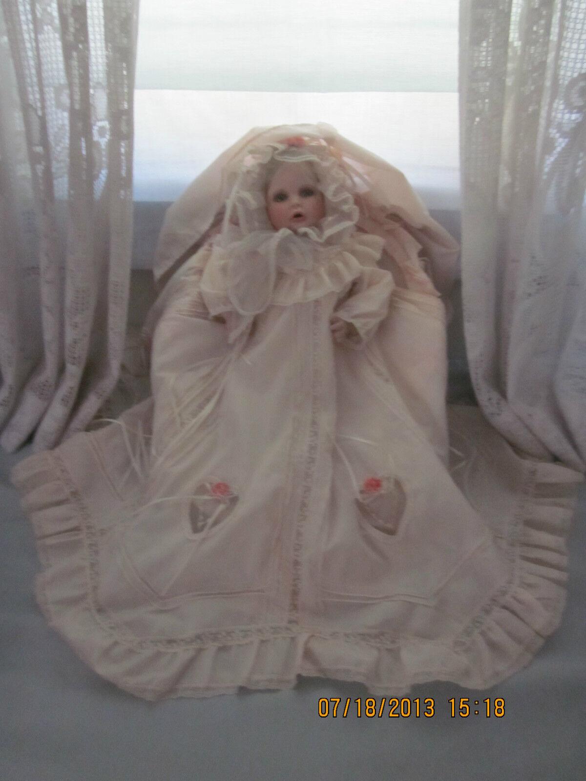 Ltd Arts Hamilton Collection Boehm Elena Porcelain Doll in Bassinet w Certicates