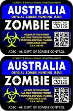 Two Australia Zombie Hunting License Permit 3x4 Decals Stickers Blpur 1206