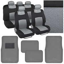 9 Pc Seat Cover Split Bench Mat Combo - Gray Mesh Seat w/ 4 Pc Black Carpet