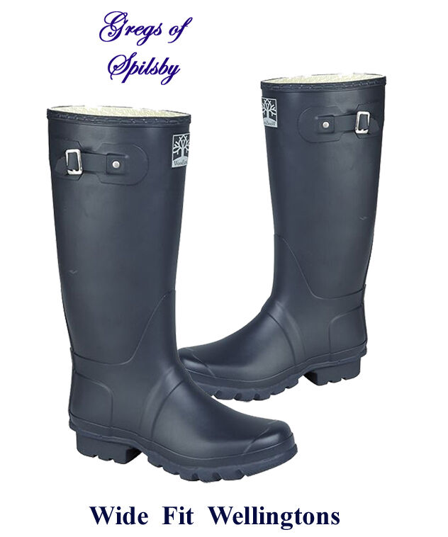 Ladies or Mens Wide Fit Rubber Field Boots, Wellingtons in Dark Navy Sizes 3-15