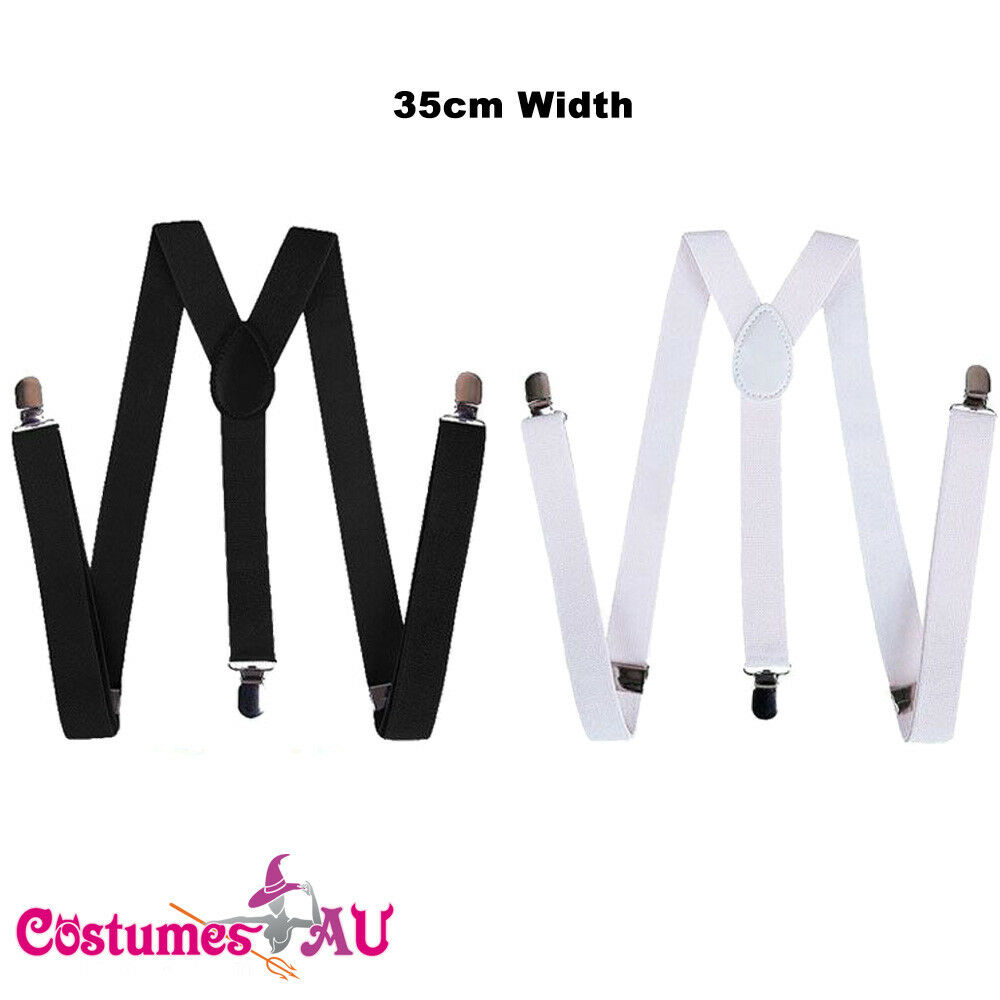 35mm 20s Gangster Gatsby Suspenders Braces 1920s Mens Ladies Unisex Elastic Clip