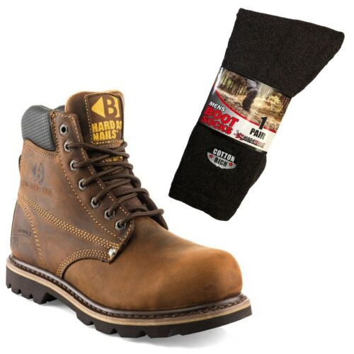 /& 1 Pair of Socks Buckler B425SM Safety Work Boots Brown Sizes 6-13