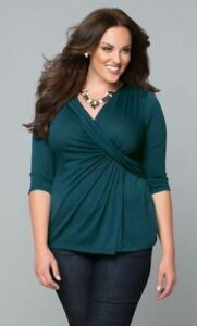 Kiyonna-Women-039-s-Top-Green-3X-Katniss-Style-Made-In-USA-22-24-V-Neckline-Ruched