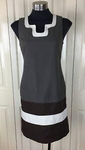 Cue-Dress-Size-6-Taupe-Black-White-Work-Wear-Cotton-Blend
