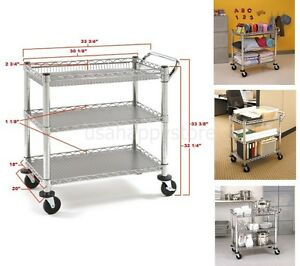 Image Is Loading Rolling Utility Cart Commercial Heavy Duty 2 Shelves