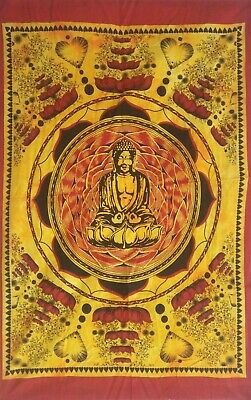 Poster Lord Buddha Lotus Small Tapestry Yellow Color Home Decor Indian Textile