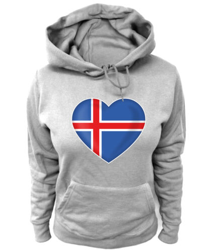 Da Donna Hoodie CUORE HEART fan Bandiera Bandiera Iceland Reykjavik Islanda vulcani Fußbal