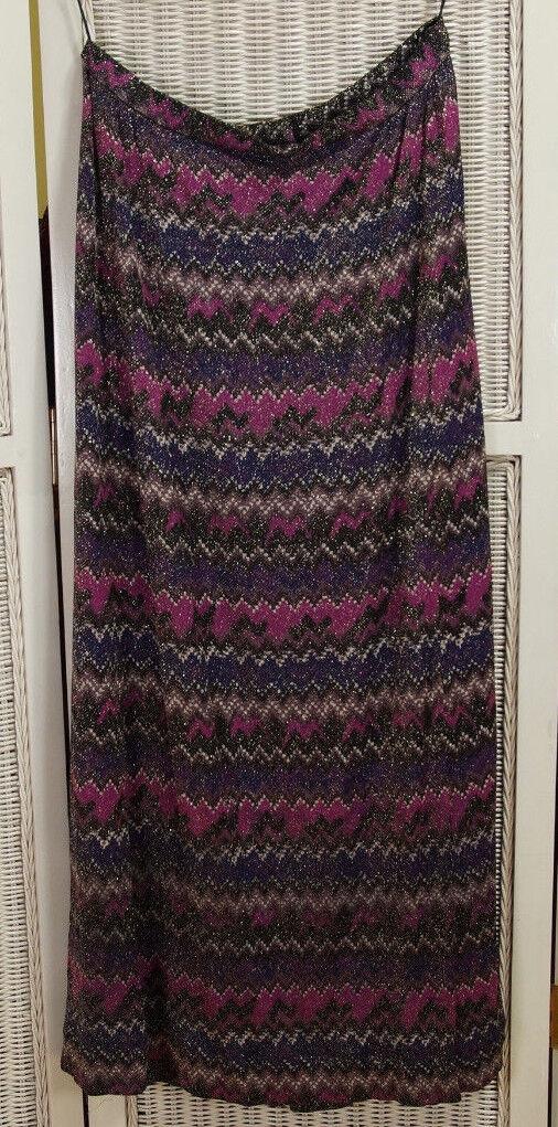 CRESTA Vintage 1960s-70s Long Maxi Skirt UK18 W32 , L41  Metallic Zigzag Chevron