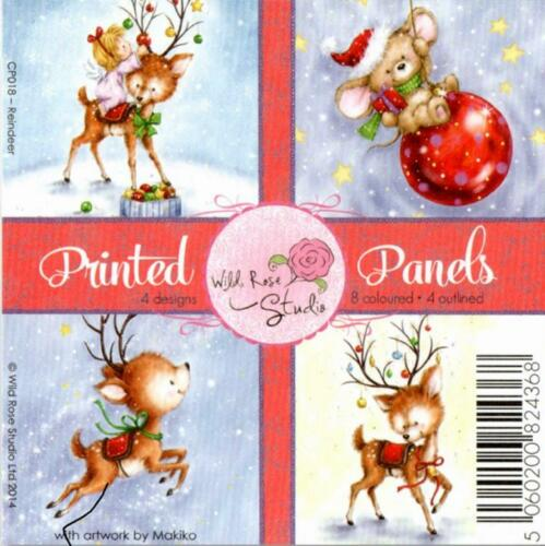 "Wild Rose Studio Printed Panels 4/"" x 4/"" 12 Sheets Reindeer"