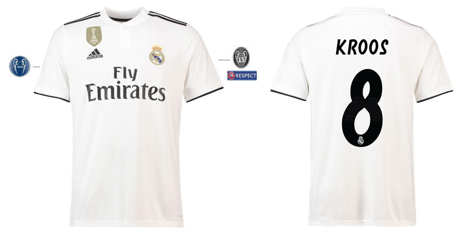 Trikot Adidas Real Madrid 2018-2019 Home UCL - Kroos  Champions League