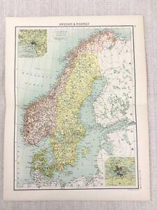 1898-Carte-de-Suede-Norvege-Stockholm-Christiania-Fjord-Ancien-Vieux-19th-Siecle