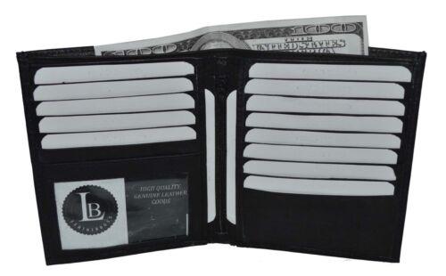 Leatherboss Men/'s Genuine Leather Bifold Wallet Slim Hipster Cowhide Credit Card