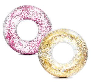 Intex-Schwimmring-mit-Glitzer-pink-oder-gold-Glitter-Tube-119-cm-Schwimmreifen