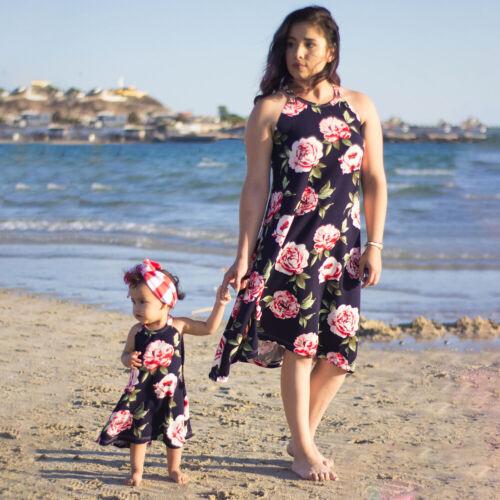 Mutter Tochter Partnerlook Kleid Freizeit Strandkleid Sommer Familie Kleidung