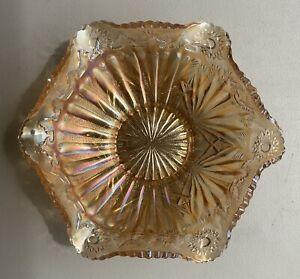 "Vintage 1909-1912 Millersberg 10"" Marigold Rays & Ribbons Ruffled Saw Edge Bowl"