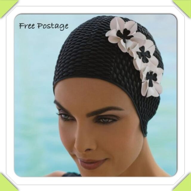 4d03ccc4cd Fashy Bubble Swimming Hat Black With White Petal Flower Retro ...