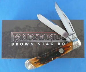 Rough-Rider-Brown-Stag-Bone-Trapper-Knife-Stainless-Steel-RR1789