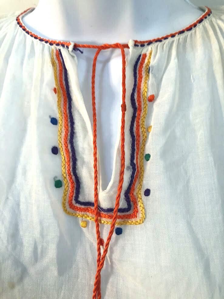 Vintage 1970s Hungarian embroidered tie tassel Pe… - image 3