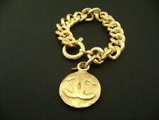Authentic Chanel Vintage Gold CC Round Charm Thick Chain Bracelet (96A)