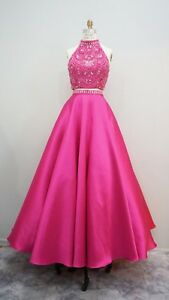 Hot-Pink-2-pieces-Beaded-Long-Prom-Dress-Pageant-Gown-size-10-In-Stock