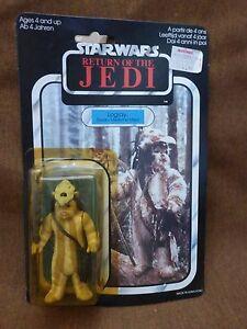 Figurine originale de 1983 avec Rotj Logray de Star Wars avec un emballage différent