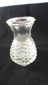 Small Cut Glass Vase Pineapple Design Shape 1980 FTD