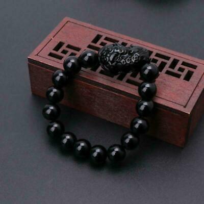 Feng Shui Stone Pi Xiu Attract Good Luck /& A+++ Wealth Bracelet Obsidian
