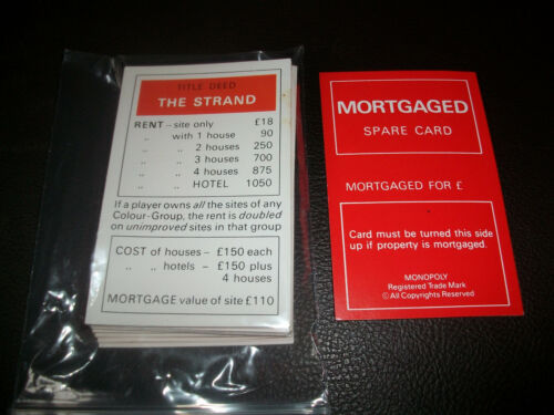 Monopoly Spare Parts Pieces Cards Money Movers 1980/'s Edition Choose from List