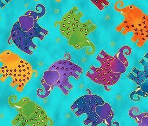Mythical-Jungle-Elephant-Toss-Y2139-34M-DARK-Aqua-Blue-w-Met-by-Laurel-Burch-BTY