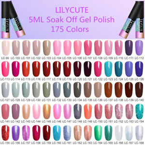 5ml Nail Art Soak Off UV/LED Gel Polish Color Coat Varnish 175 Colors LILYCUTE