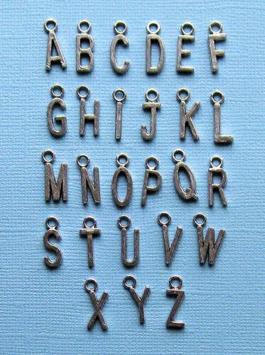 SC1040 2 Sets 26 Alphabet Letter Charms Antique Silver Tone