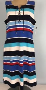 3be2a356156 Chaps Sailor Bay T-shirt Dress Red White Blue Laced Striped L MSRP ...