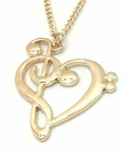 Amazing Musical Note TREBLE CLEF & BASS In Shape Of HEART Gold Colour - UK Stock