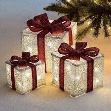 item 1 set of 3 led light up decorative christmas parcel set with bow decoration lights set of 3 led light up decorative christmas parcel set with bow
