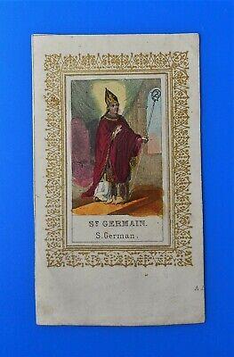 Santino Holy Card San Germain Germano Vescovo Capua Engraving | eBay