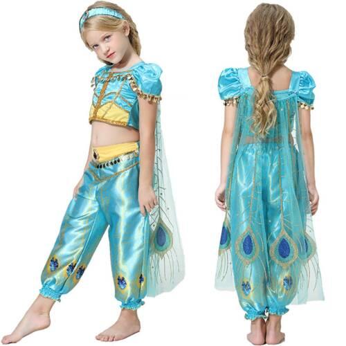 Kids Girls Aladdin Jasmine Princess Dance Fancy Dress Cosplay Party Prom Costume