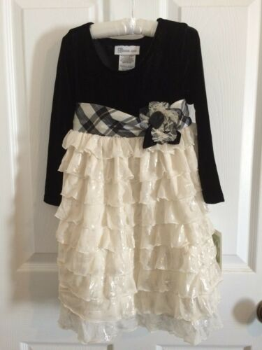 Bonnie Jean Holiday Formal Velvet To Eyelash Tier Dress w//Plaid Sash
