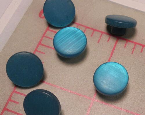 """18 botones de vástago de plástico pequeño /""""Moonglow/"""" blueteal 7//16/"""" 11.7mm"""